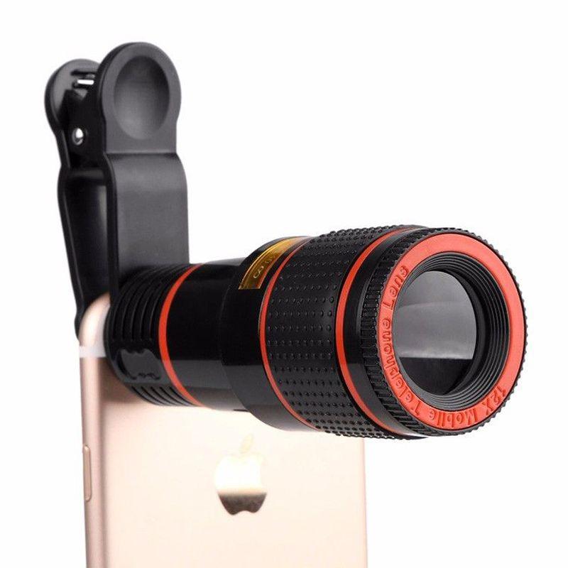 HD 8X 12X Zoom Optique Clip on Camera Lens Téléphone Télescope Universel pour Téléphone portable téléobjectif
