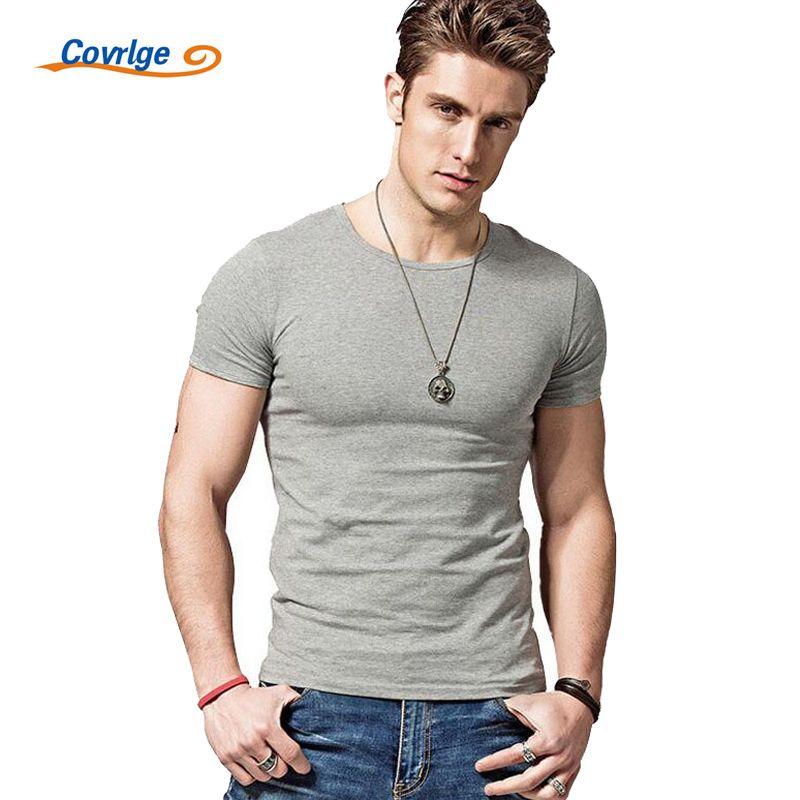 Covrlge 2019 été chaud hommes T-shirts couleur unie Slim Fit manches courtes t-shirt hommes nouveau haut col en o t-shirt marque vêtements MTS291