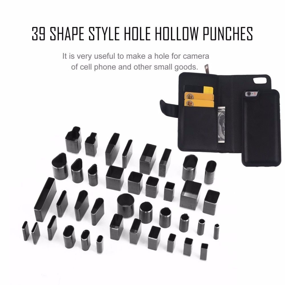 2017 39pcs/set 39 Shape Style Hole Hollow Cutter Punch Metal Cutter Punch Set Handmade Leather Craft DIY Tool for Phone Holster