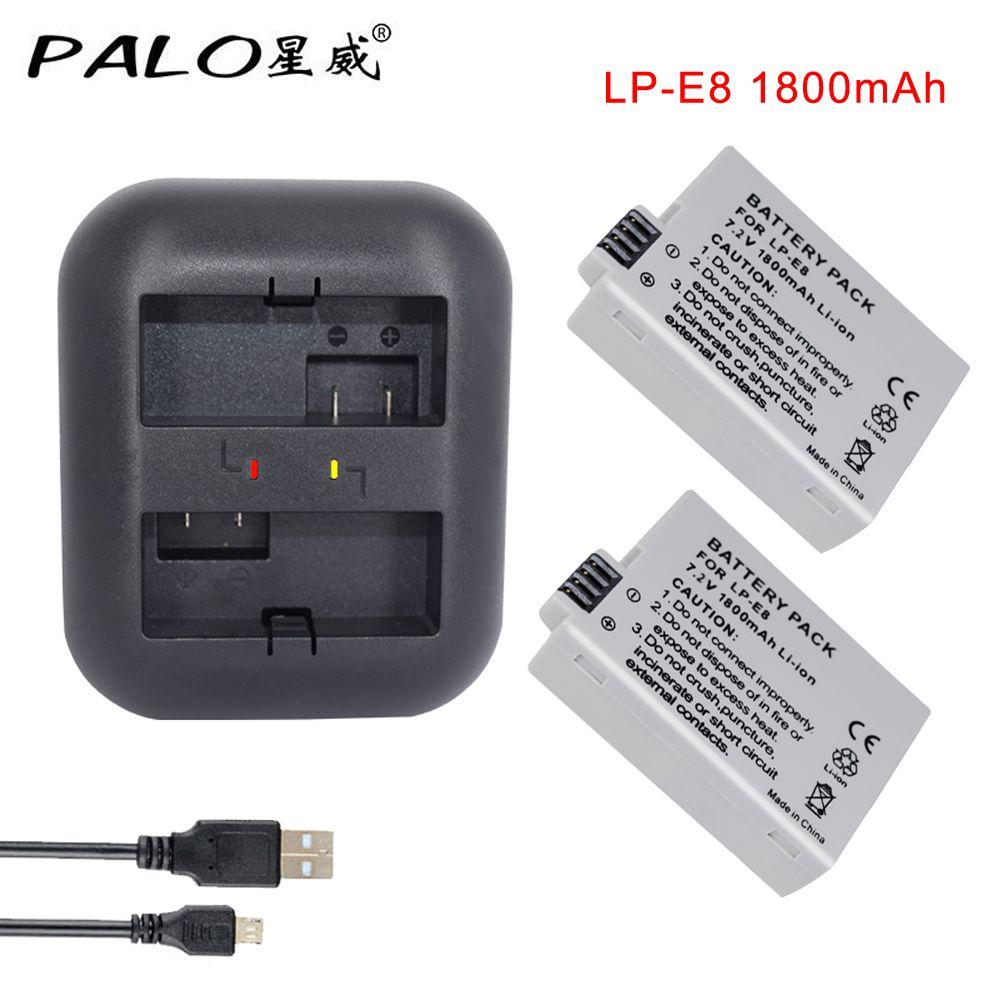 2Pcs 1800mah LP-E8 LPE8 LP E8 Battery Batterie AKKU + LED Dual Charger for Canon EOS 550D 600D 650D 700D X4 X5 X6i X7i T2i T3i