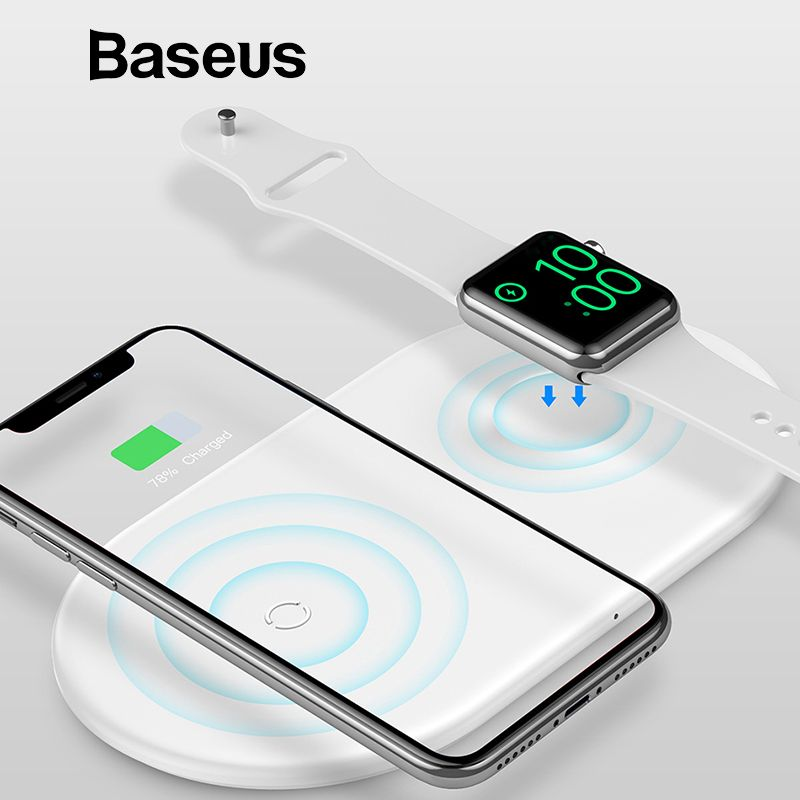 Baseus 2 in 1 Wireless Charger Pad For Apple Watch iPhone X Xs Max XR Desktop Fast Wireless Charging Charger Born for Apple Fans