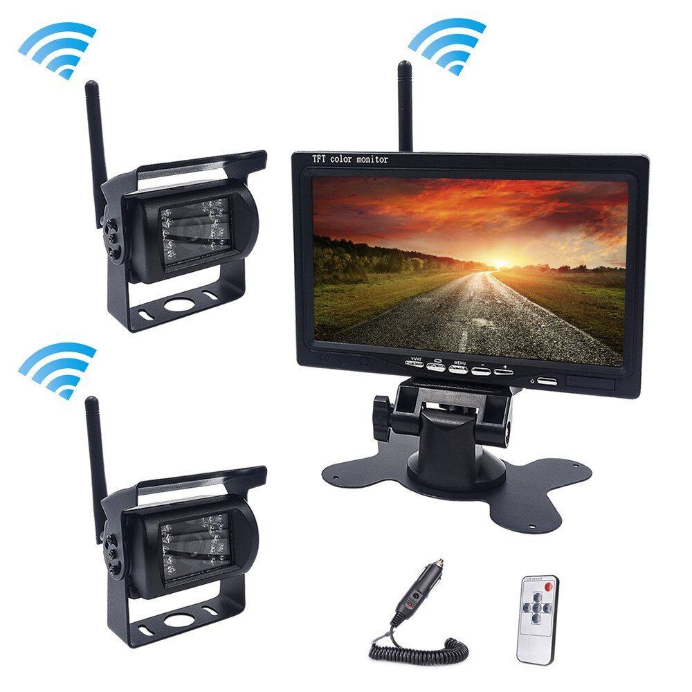 Accfly Dual Wireless car reverse <font><b>reversing</b></font> backup rear view camera for trucks bus Caravan Van Camper RV Trailer with Monitor