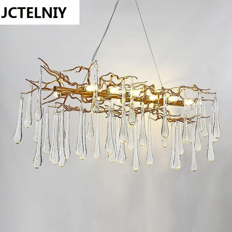 Lampe suspendue de salon en cristal français a mené des lampes d'éclairage de branches
