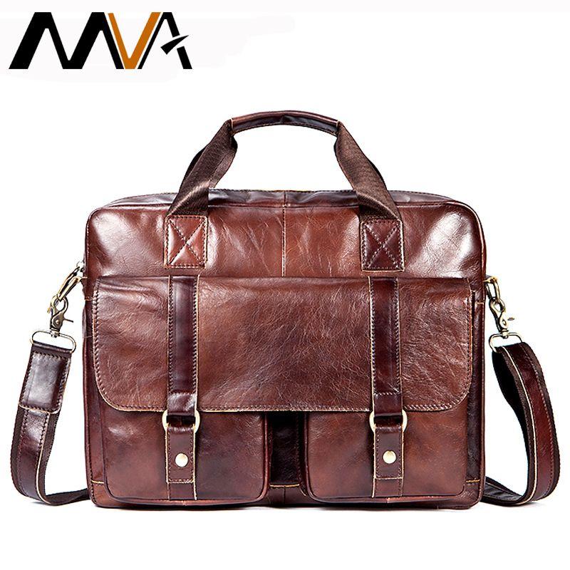 MVA Aktentaschen Männlichen Echtem Leder Männer Taschen für Dokument Leder Laptop Tasche Umhängetasche Männer Schulter Taschen büro mann handtaschen