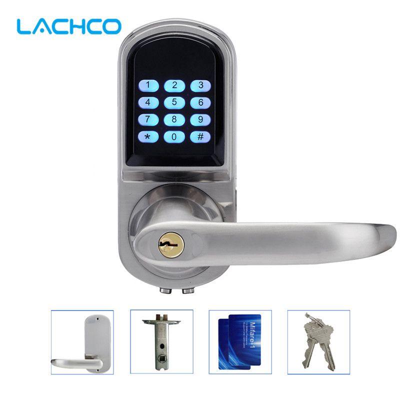 Mot de passe électronique de serrure de porte de LACHCO, 2 cartes, serrure intelligente de clavier numérique de 2 clés entrée intelligente sans clé Nickel satiné L16071BS