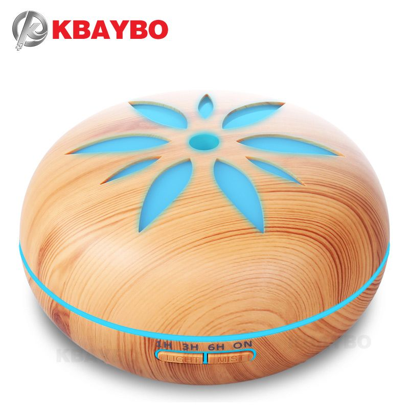 550ml Ultrasonic Humidifier Essential Oil Diffuser Wood Grain Mist Humidifier LED Night Light for Office Home Bedroom