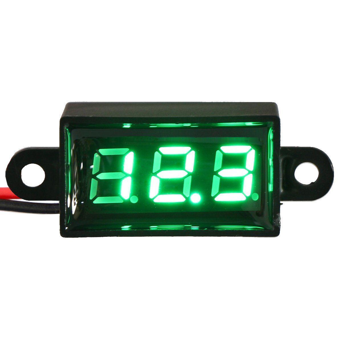Micro Voltmeter Green Digital 0.28 Volt Monitor Waterproof Dustproof Shockproof Battery Power Tester for Car Motorcycle Vehicle