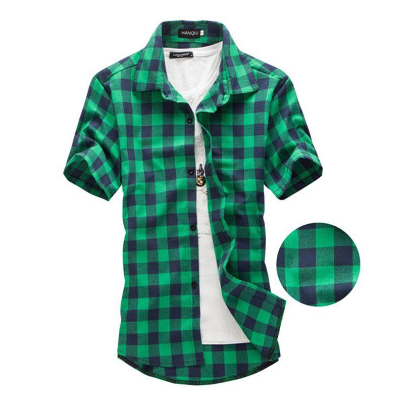 Azul marino y Verde A Cuadros camisas de Los Hombres 2017 Nueva Llegada Del Verano Moda Camisas de manga Corta Ocasional de los hombres Chemise Homme Hombre Vestido camisas