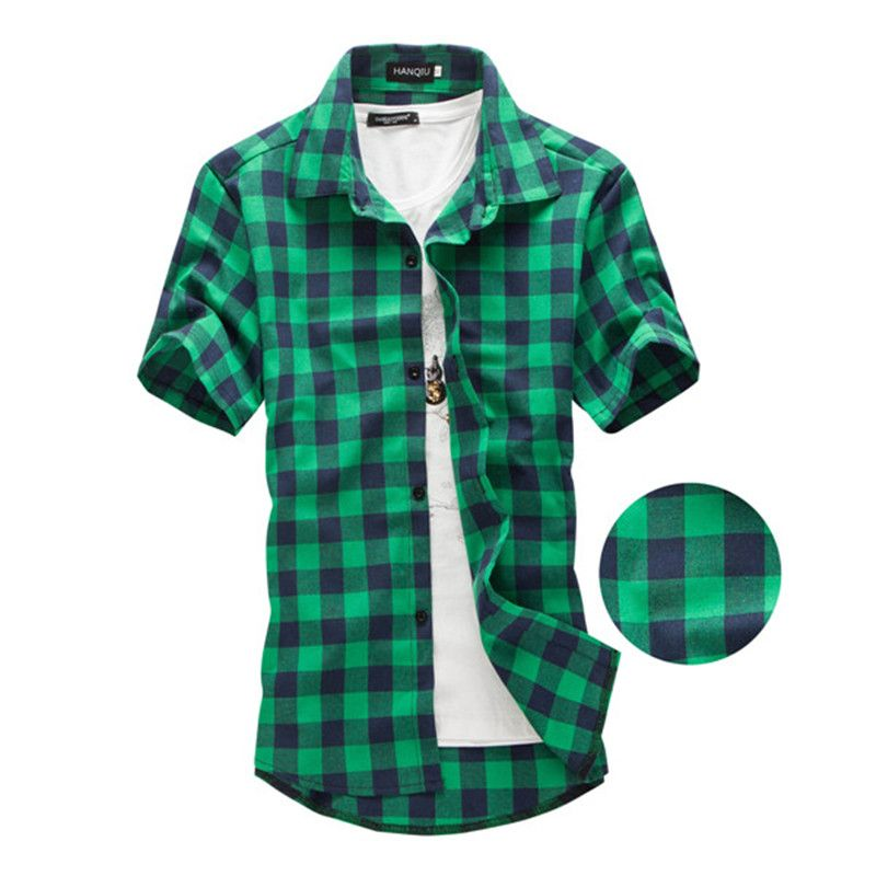Navy and Green Plaid shirts Men  2017 New Arrival Summer Men's Casual Short sleeve Shirts Fashion Chemise Homme Men Dress Shirts