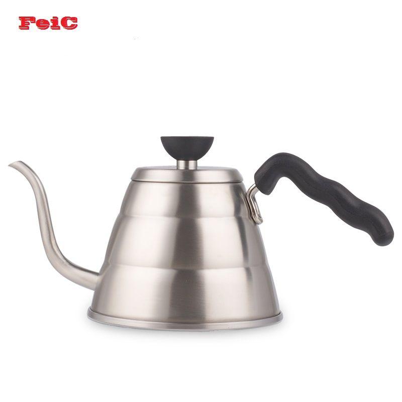 FeiC 1 pc 1.0L Hario Style V60 thé et café goutte à goutte bouilloire pot en acier inoxydable col de cygne bec bouilloire eau chaude pour Barista