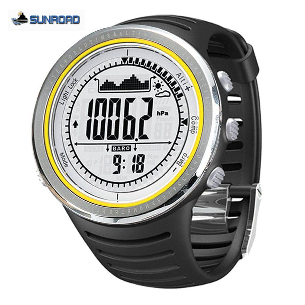 Sunroad Outdoor Sport Watches Men 5ATM Waterproof Altimeter Compass Stopwatch Fishing Watch Barometer Pedometer Dive Watch Men