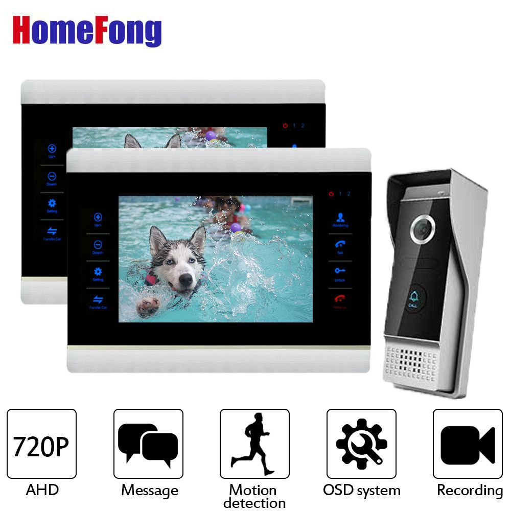 Homefong Video Door Phone 2 Monitors Wired Video Intercom Door Bell System AHD 720P HD Resolution Motion Detection Recording