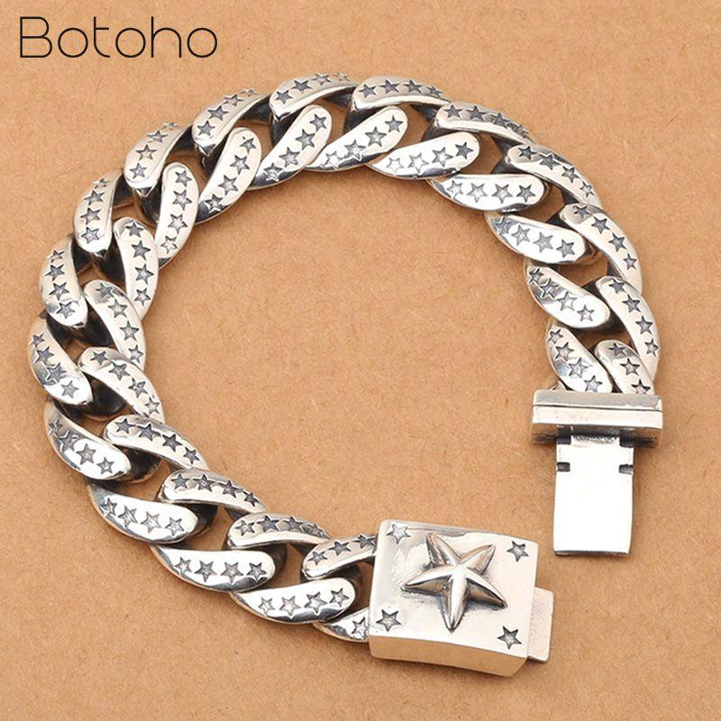 Real 925 Sterling Silver Lucky Star Bracelet For Men Women Width 15mm Vintage Punk Rock Link Chain&Bracelets Thai Silver Jewelry
