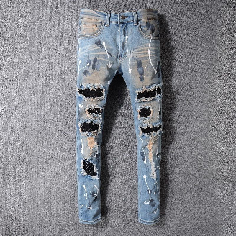 2017 New France Style #523# Mens Distressed Embellished Ribbed Stretch Moto Pants Biker Jeans Slim Trousers Size 28-42