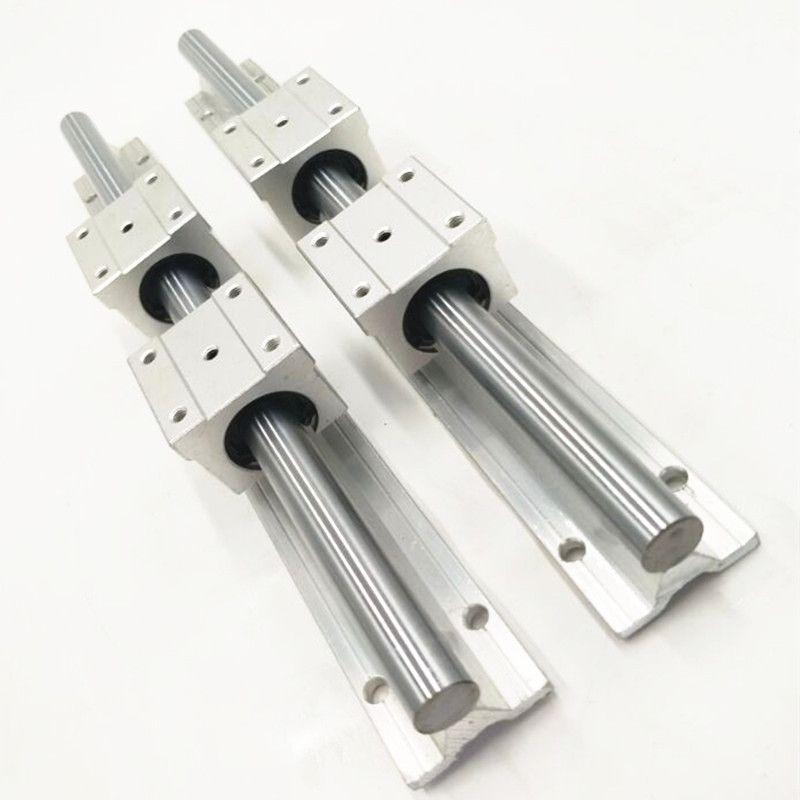 2X SBR16-700mm 16MM FULLY SUPPORTED LINEAR RAIL SHAFT ROD + 4 SBR16UU Block