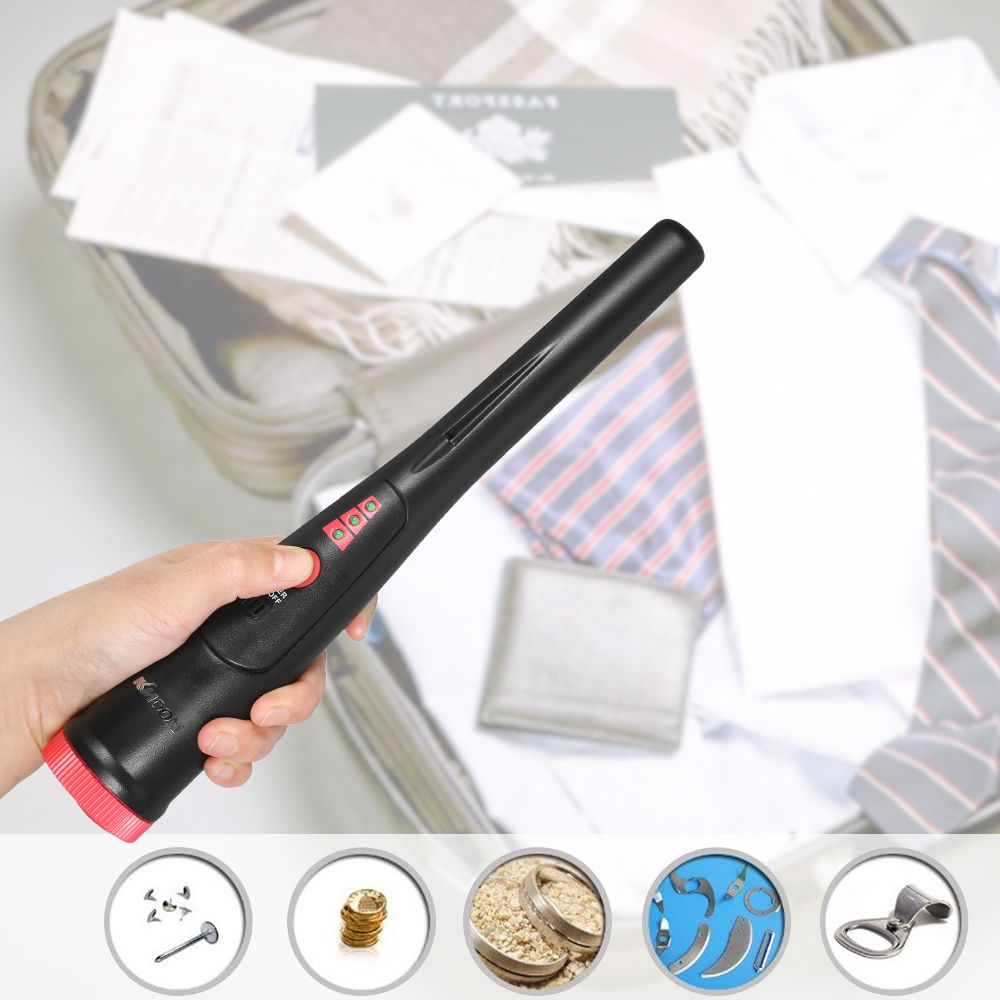 Pinpointer Metal Detector Portable Pin Pointer Tool Buzzer Vibration Automatic Tuning with Belt Holster and LED Indicators