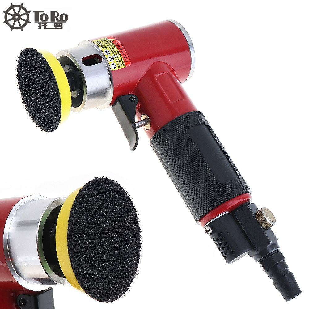 TORO-943A 2 Inch Straight Heart High-speed Mini Pneumatic Sanding Machine with Push Switch and Sanding Pad for Polishing