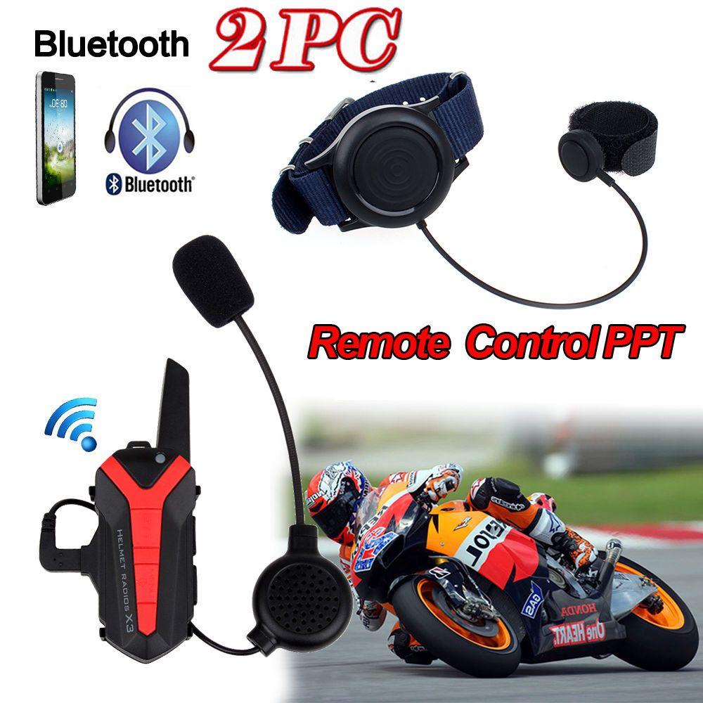 2017 Arrival! 2 pcs X3 Plus Motorcycle Bicycle Waterproof Bluetooth Helmet Headset Intercom 3KM Group walkie talkie PTT Control