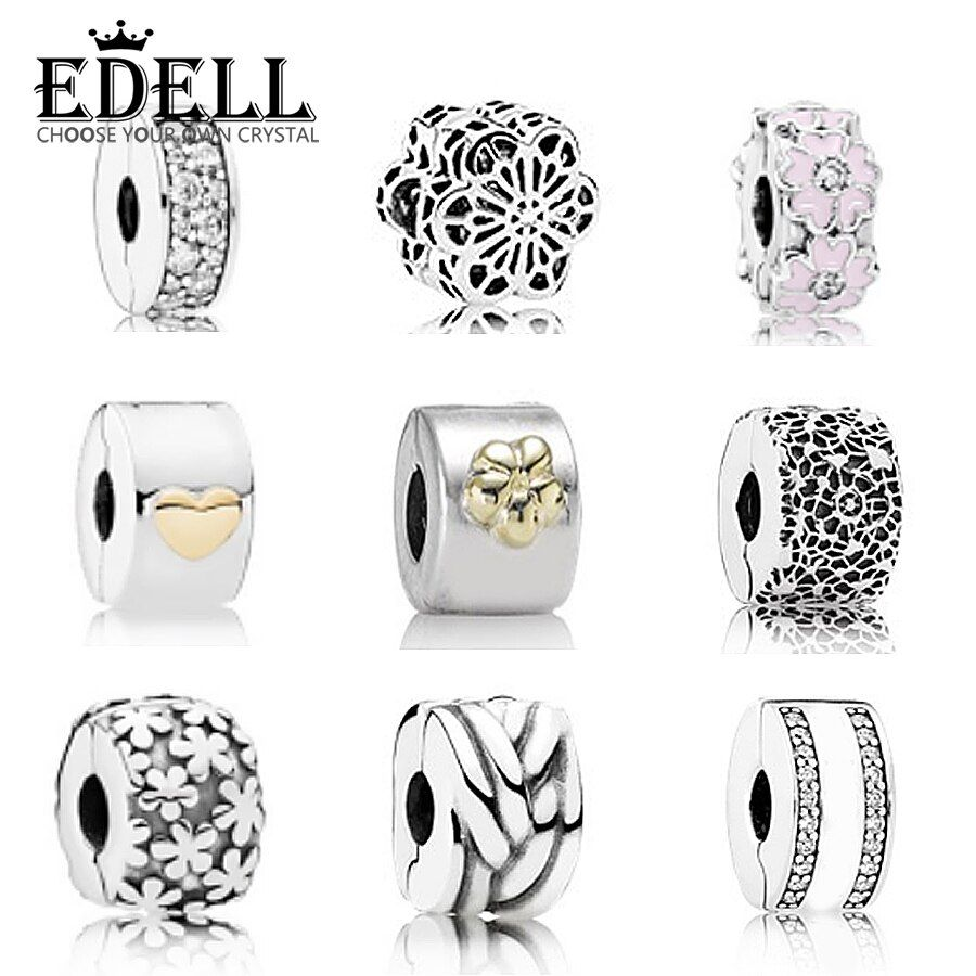 EDELL 925 Sterling Silver Safety Clip Original Bead Fit  Bracelet DIY Jewelry Manufacture Suitable Sending Woman Birthday Gift