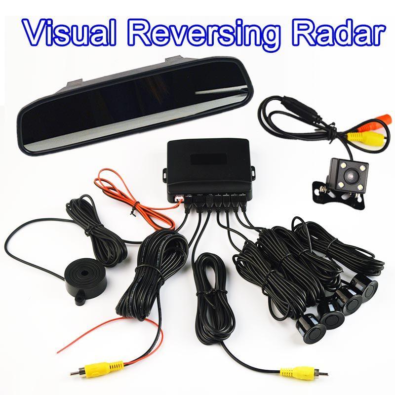Rearview Camera + Mirror 4 Sensors Buzzer 22mm Car Parking Assistance Visual Reversing Radar Sound Alert System Auto Monitor