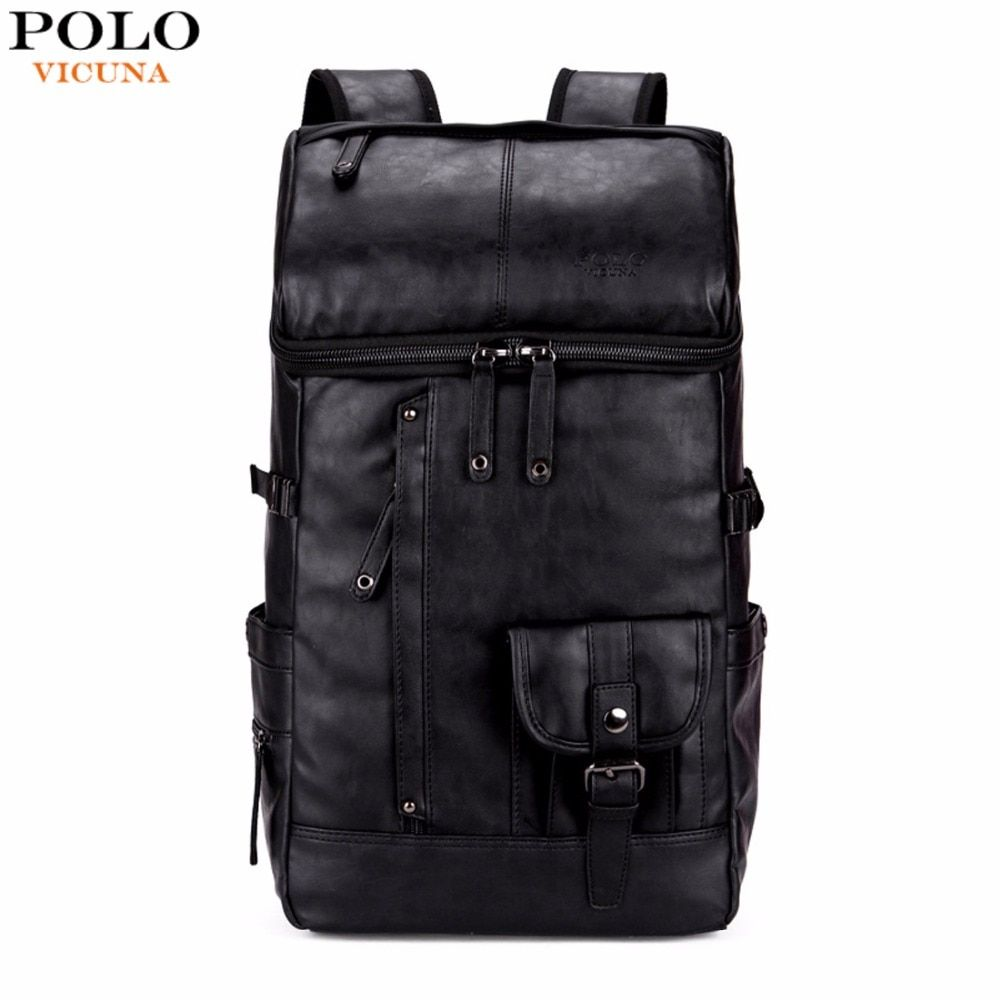 VICUNA POLO High Capacity Large Mens Travel Backpack Bag Black Leather Man Backpack For Trip Laptop Backpack mochila masculina