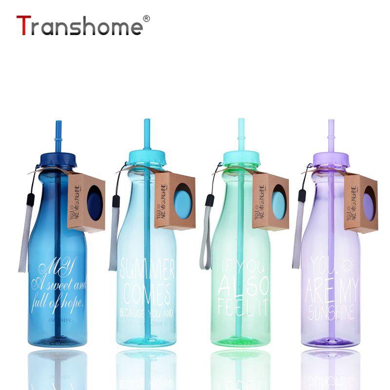 Transhome модные бутылка для воды 650 мл Спортивные бутылки для воды для лета ломкий Портативный Пластик чайник креативный подарок waterfles