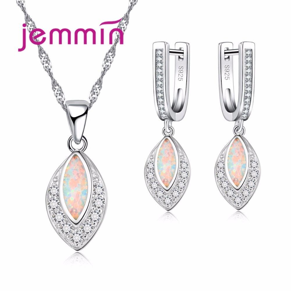Jemmin Elegant Women Female 925 Sterling Silver Necklace Earrings Set With Water Drop AAA Opal Party Wedding Jewelry Set