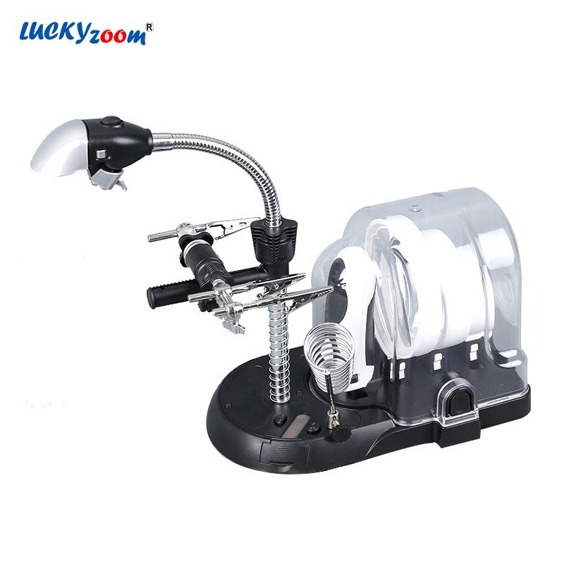 2.5X 5X 16X Welding Magnifying Glasses With LED Lights Illuminated Loupe Desk Handheld Magnifier Lamp Third hand For Soldering