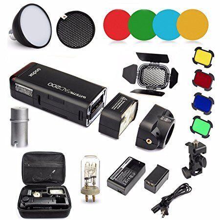 Godox AD200 Kit 200Ws 2.4G TTL Pocket Flash Strobe 1/8000 HSS Cordless Monolight 2900mAh Lithimu Battery and Bare Bulb/Speedlite