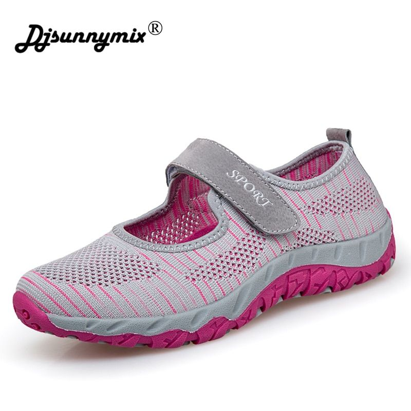 DJSUNNYMIX Women Shoes Summer Mesh Breathable Flat Female Loafers Slip On mom Casual Flats Shoes Plus Size 36- 41