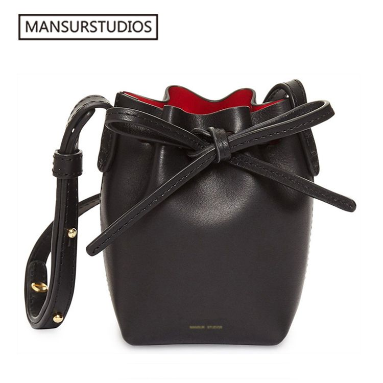 Newest MANSURSTUDIOS MINI bucket bag mansur women Split leather MINI shoulder bag, gavriel lady leather cross bag, freeshiping