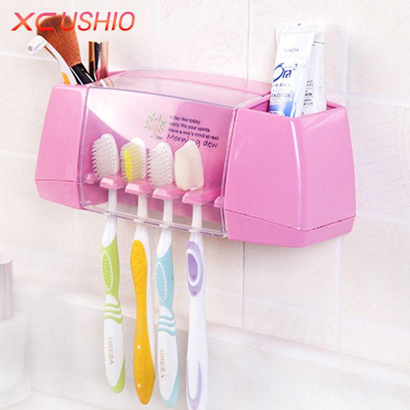 Creative Toothbrush Holder Storage Box Strong Glue Sticker Bathroom Toothpaste Tooth Brush Holder Toiletries Organizer