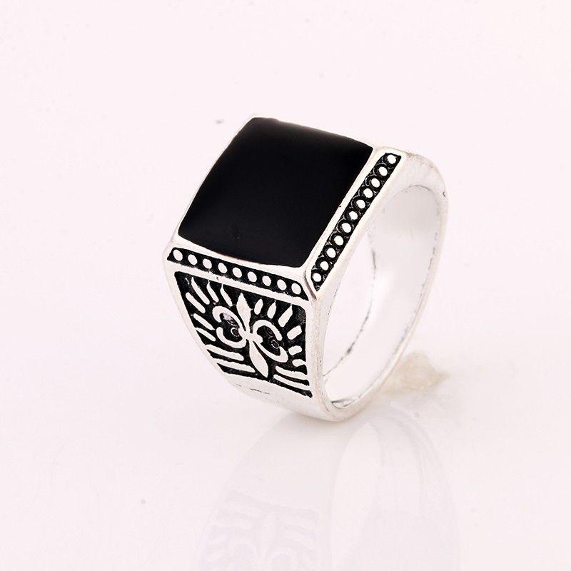 LVR9 for NLNL block shape black ziron 925 silver ring for women and man birthday gift