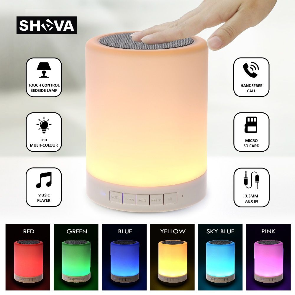 Night Light with Bluetooth Speaker, SHAVA Portable Wireless Bluetooth Speaker Touch Control Color LED Bedside <font><b>Table</b></font> Lamp,