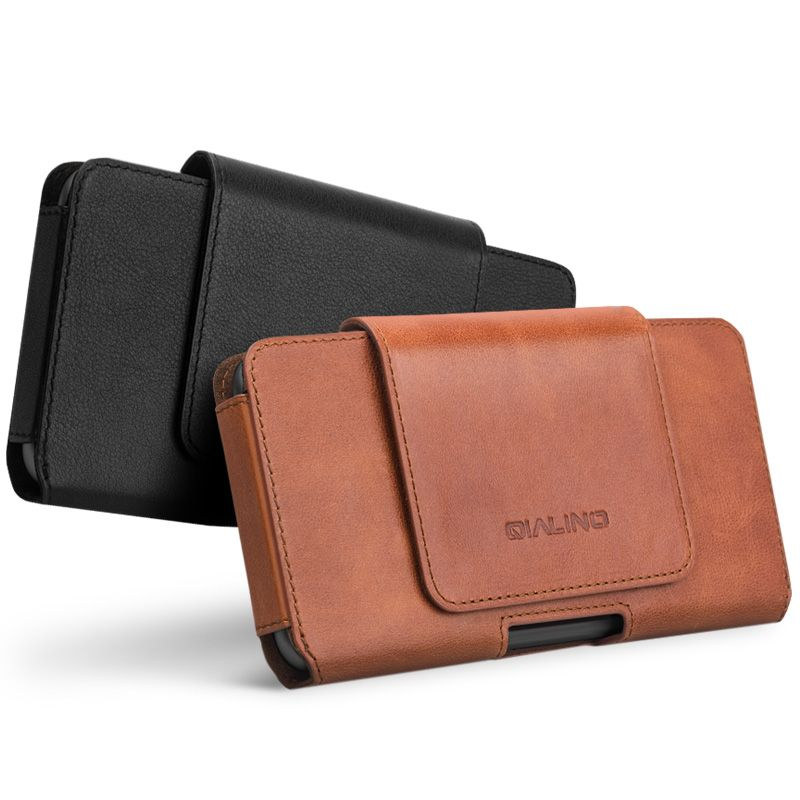 QIALINO Fashion Business Style Phone Bag Cover for Apple for iPhone X Luxury Genuine Leather Simple Holster Case for iPhoneX 5.8