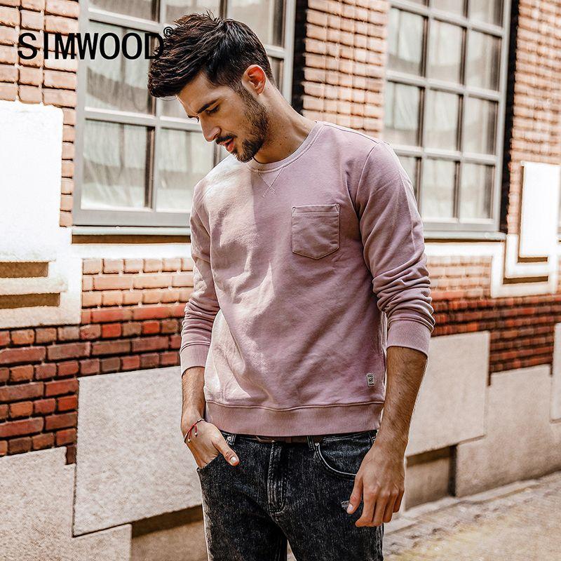 Simwood 2018 nueva primavera hombres Sudaderas gruesa de manga larga ocasional marca sudaderas o-cuello Sudaderas Hombre wt017022