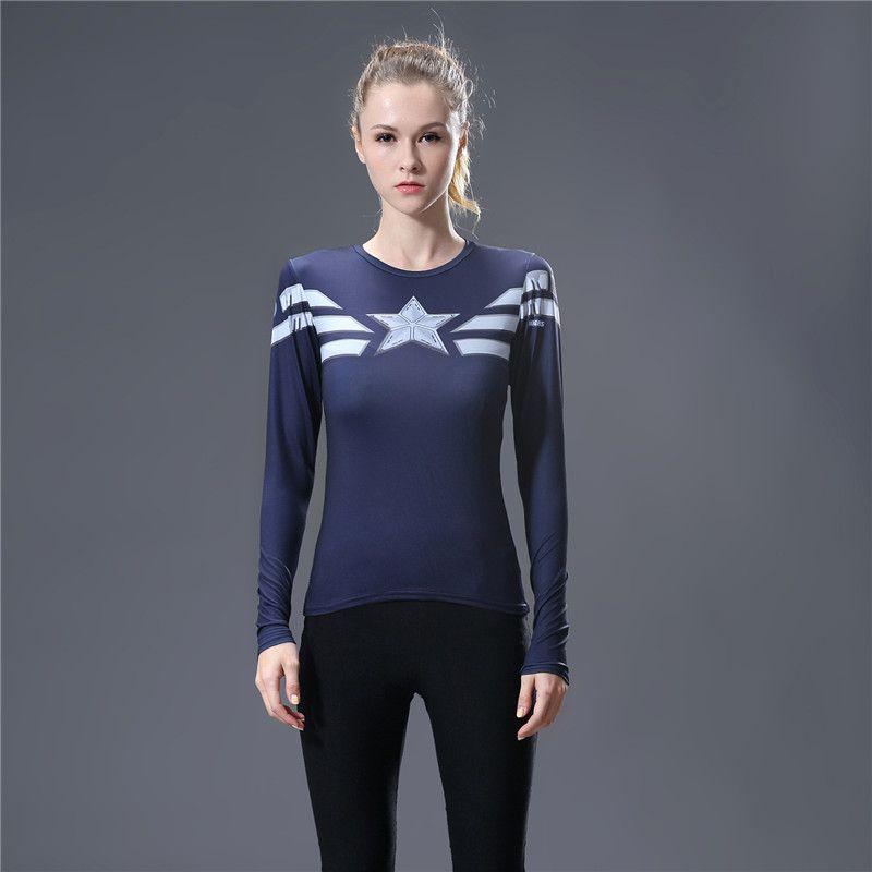Marvel Heroes T Shirt femmes T-shirt mode légende amérique 3D impression Avenger Compression dessus de chemise Superman chemise collants t-shirts