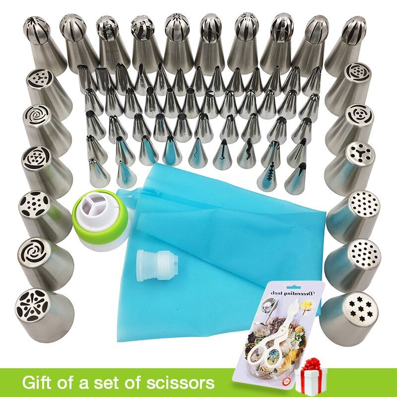 Medjelio 70Pcs Russian Tulip Nozzle Bakeware Icing Piping Tips Baking Pastry Cake Decorating Tools 1 pcs silicone bag 2 coupler