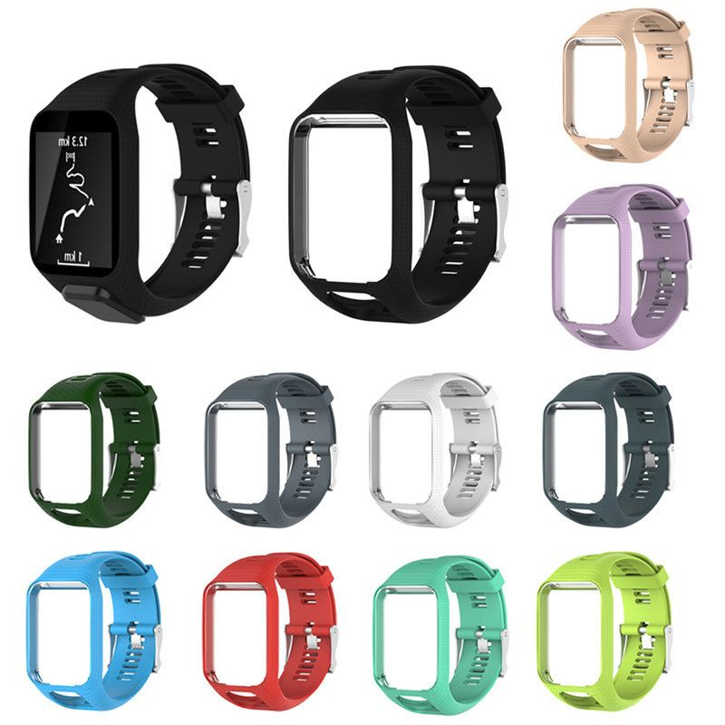 Colorful Silicagel Replacement Watchband Watch Strap 25cm long For TomTom Adventure Runner 2 Spark 2 Cardio Series GPS Watch