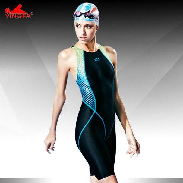 Yingfa swimwear one piece competition knee length waterproof chlorine resistant women's swimwear sharkskin swimsuit