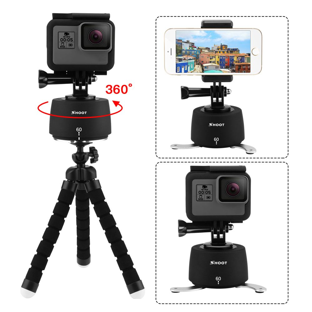 SHOOT 360 Degrees Rotating Panning Ball Head Base Time Lapse Auto Rotate Tripod For GoPro 7 6 5 Yi 4k Action Camera Mobile Phone