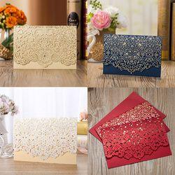 1pcs Gold Red White Laser Cut Luxury Flora Wedding Invitations Card Elegant Lace Favor Print Envelopes Wedding Party Decoration