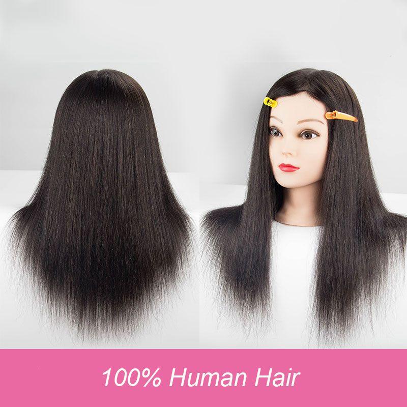 100% Человеческие волосы Манекен головы для Salon Curl Краски краситель вырезать манекена maquiagem Парикмахерские головы парик Глава 18