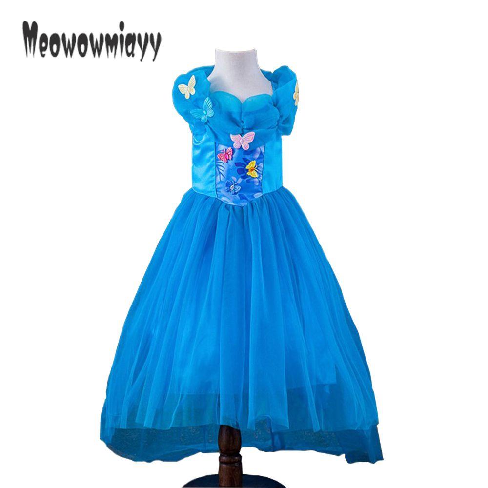 Платье Золушки 2017 костюм для детей Одежда для девочек Синий Костюм Золушки для девочек летние платья для праздничная и Свадебная обувь