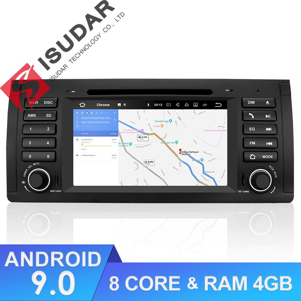 Isudar 1 Din Auto Radio Android 9 Für BMW/E39/X5/M5/E53 Auto Multimedia-Player Autoradio GPS Octa Core DSP Kamera DVR DVD Player
