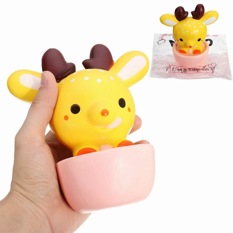 NO NO For Squishy Deer Cup Teacup Elk 16cm Slow Rising With Packaging Collection Gift Decor Toy Phone Straps