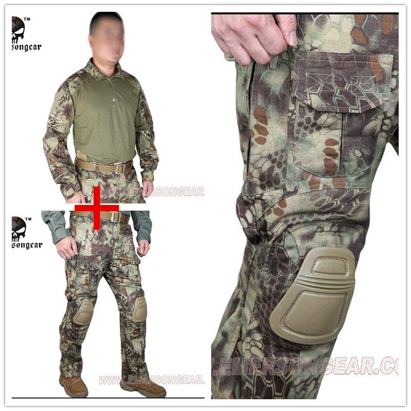 Kryptek Mandrake Emerson bdu G3 uniform shirt Pants with knee pads Suits airsoft waregame Hunting MR EM8593+7046