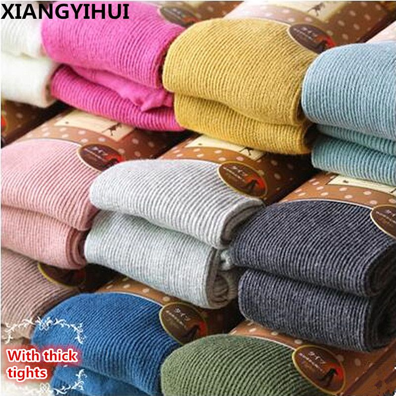 High elastic collant pantyhose female Warm Tights Winter Full Cotton Vertical Pattern Candy Colors Thermal Dress Panty hose