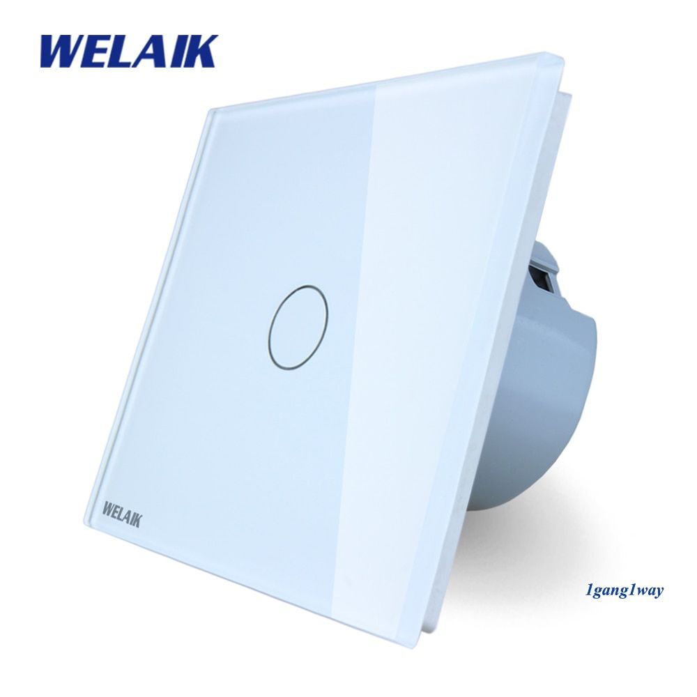WELAIK brand New Crystal Glass Panel Switch  Wall Switch EU Touch Switch Screen Wall Light Switch 1gang1way  LED lamp A1911CW/B