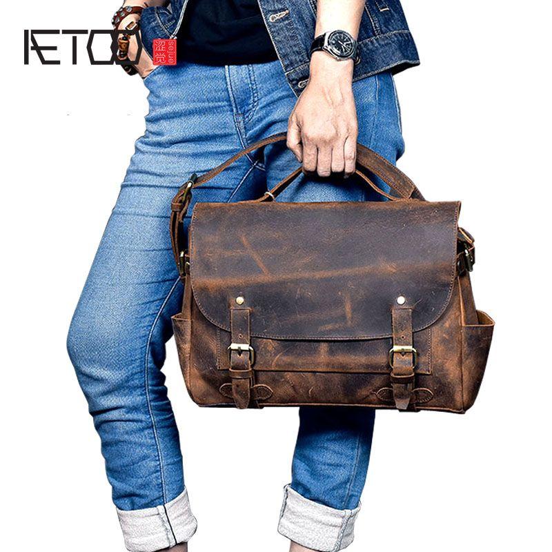 AETOO New real leather men bag oil wax cowhide retro men shoulder Messenger bag head layer leather casual shoulder bag